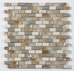 Cream Beige Pearl Mix brick with chrome