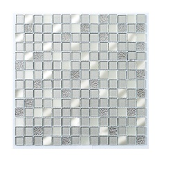Platinum Silver Glass & Mirror Mosaic 23x23