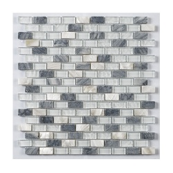 London White Glass/Stone/Metal Mix Mini Brick Mosaic 15x30mm