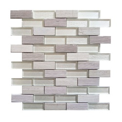 Bailey Grey White Glass Stone Mix Brick Mosaix 20 x 73