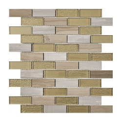 Bailey Beige Gold Glass & Stone Mix Brick Mosaic 20x73