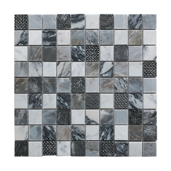 Illusion Grey Polished MArble & Resin Mosaic 30 x 30
