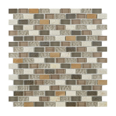 New York Beige Glass/Stone/Metal Mix Mini Brick Moaic 15x30mm