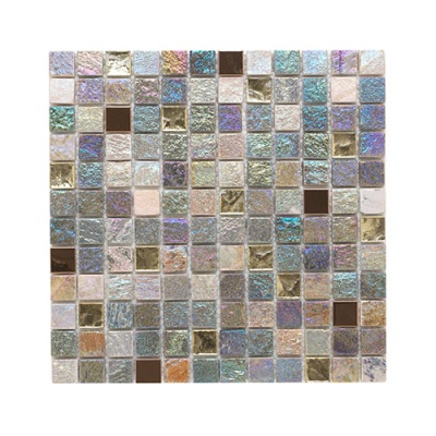 Iridescent Glass/Stone/Metal Mix Mosaic 23x23mm