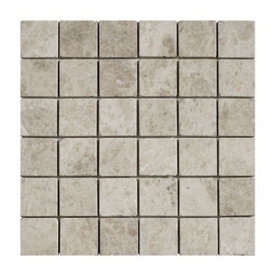 Silver SHadow Grey Tumbled Marble Mosaic 50 x 50