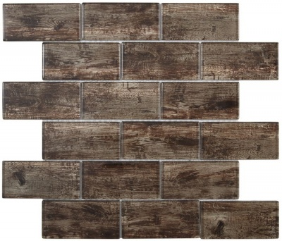 Forest Brown Wood Effect Glass Brick Mosaic 48x98mm