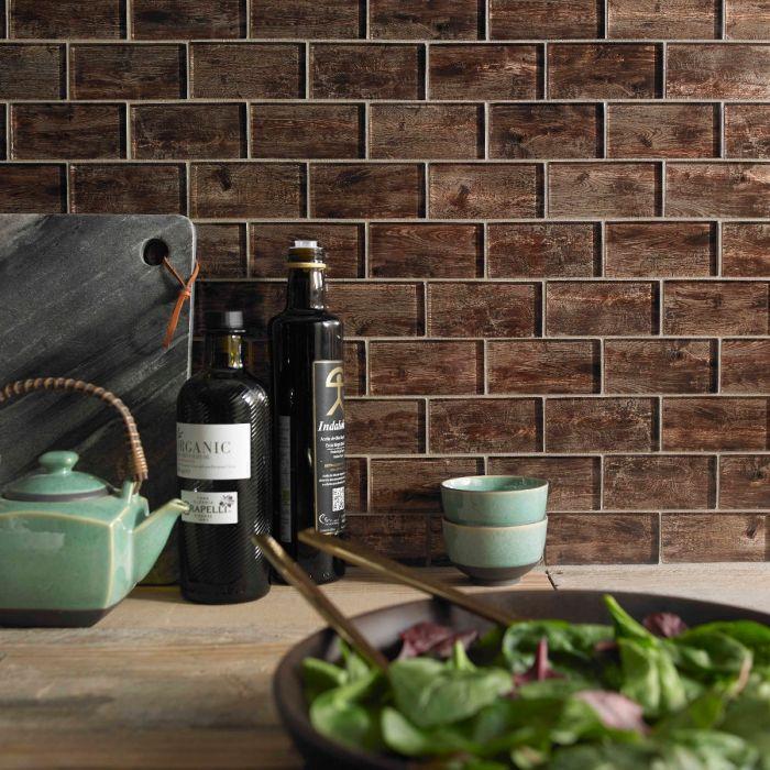 Forest Brown Wood Effect Glass Brick Mosaic 48x98mm - Superceramic Tile Shop