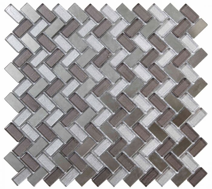Dusk Grey: Dusk Grey Herringbone Glass & Mirror Mosaic 15x30mm