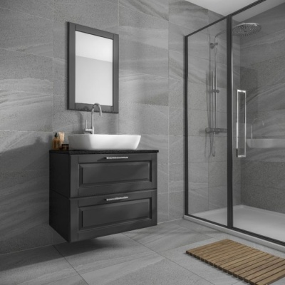 Anderley Dark Grey Matt Glazed Porcelain Wall & Floor Tile 300 x 600mm