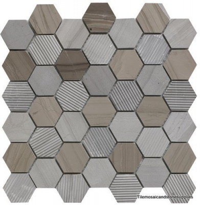 COFFEE STONE HEXAGON MIXED FINISH MARBLE MOSAIC 48 X 48mm S116