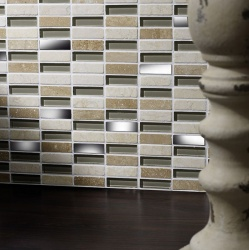 Delaware Cream Glass/Stone/Metal Mix Linear Mosaic 15x50mm