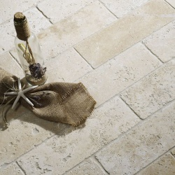White Tumbled Travertine W&F 100x305mm